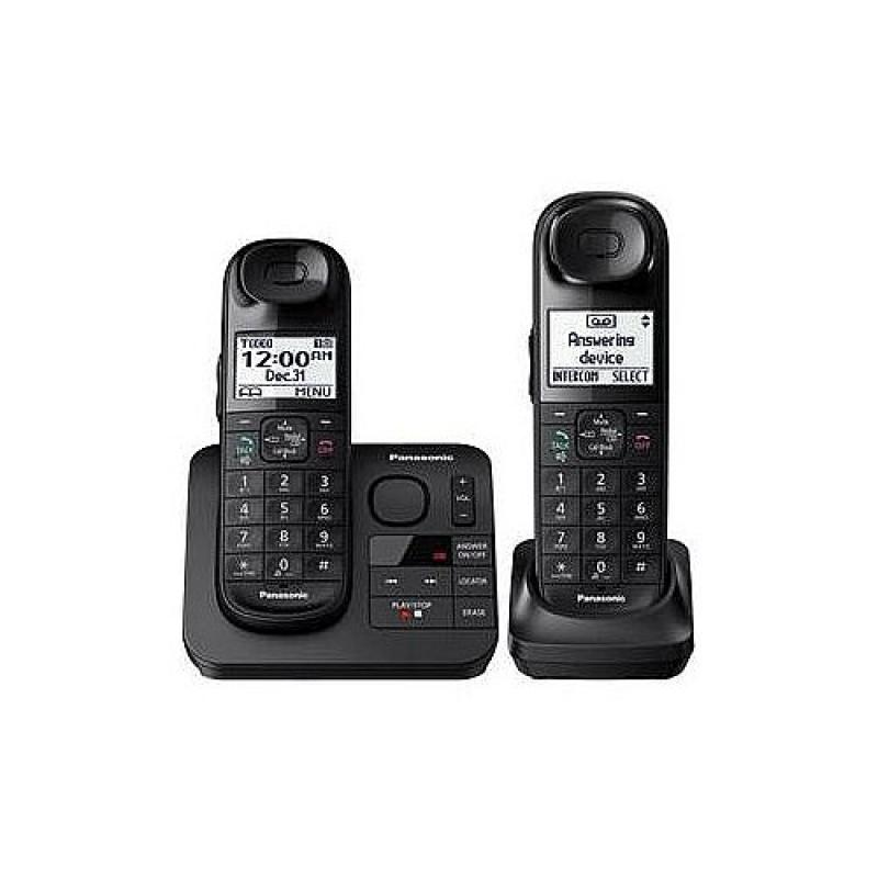Panasonic Expandable Cordless Phone with Comfort Shoulder Grip and Answering Machine - 2 Handset Pack