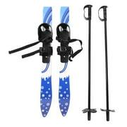 LYUMO 65cm ABS Children Kids Snowboard Skis Double Plates with Poles Skiing Beginner Kit