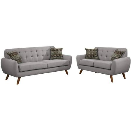 2 Piece Fabric Loveseat - Bobkona Sonya Linen-Like Polyfabric 2-Piece Sofa and Loveseat Set