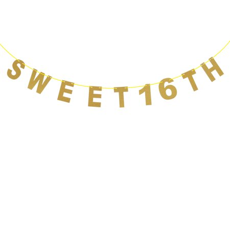 Sweet 16 TH Glitter Pink Golden Garland Bunting Banners for Baby Birthday Decoration for $<!---->