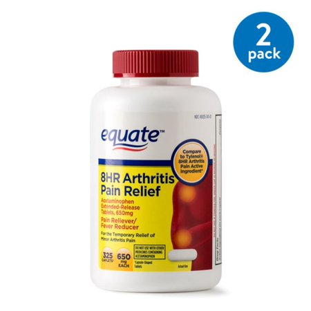 (2 Pack) Equate Arthritis Pain Relief Extended Release Caplets, 650 mg (Choose your Count)