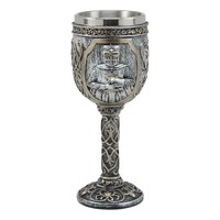 "Ebros Medieval Templar Knight Of The Cross Wine Goblet 7.75""H 5oz Suit Of Armor Swordsman Wine Chalice Cup"