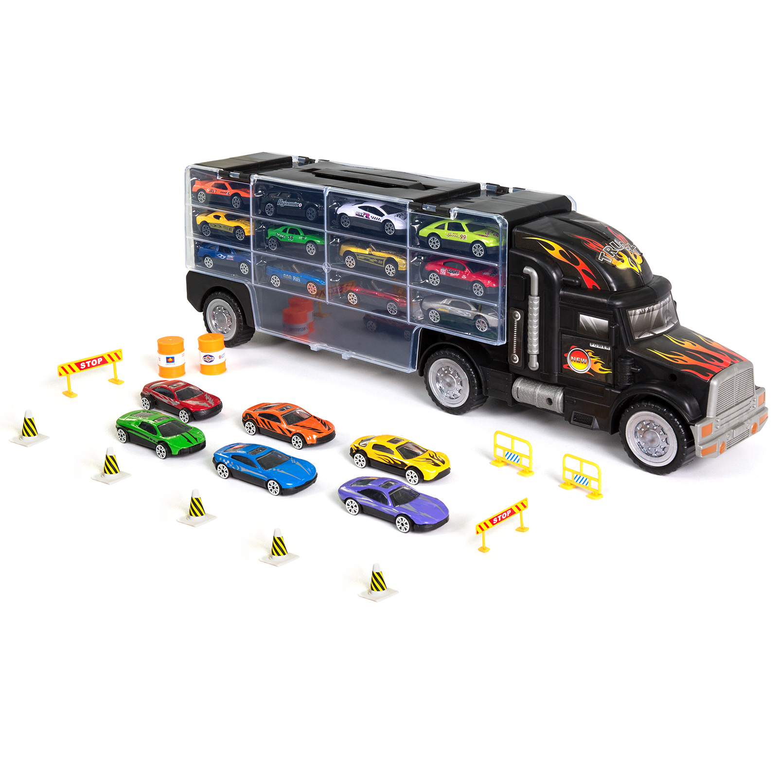 Best Choice Products 29-Piece Kids Giant 2-Sided Transport Car Carrier Semi Truck Toy w/ 11 Accessories, 18 Cars, 28 Slots - Multicolor