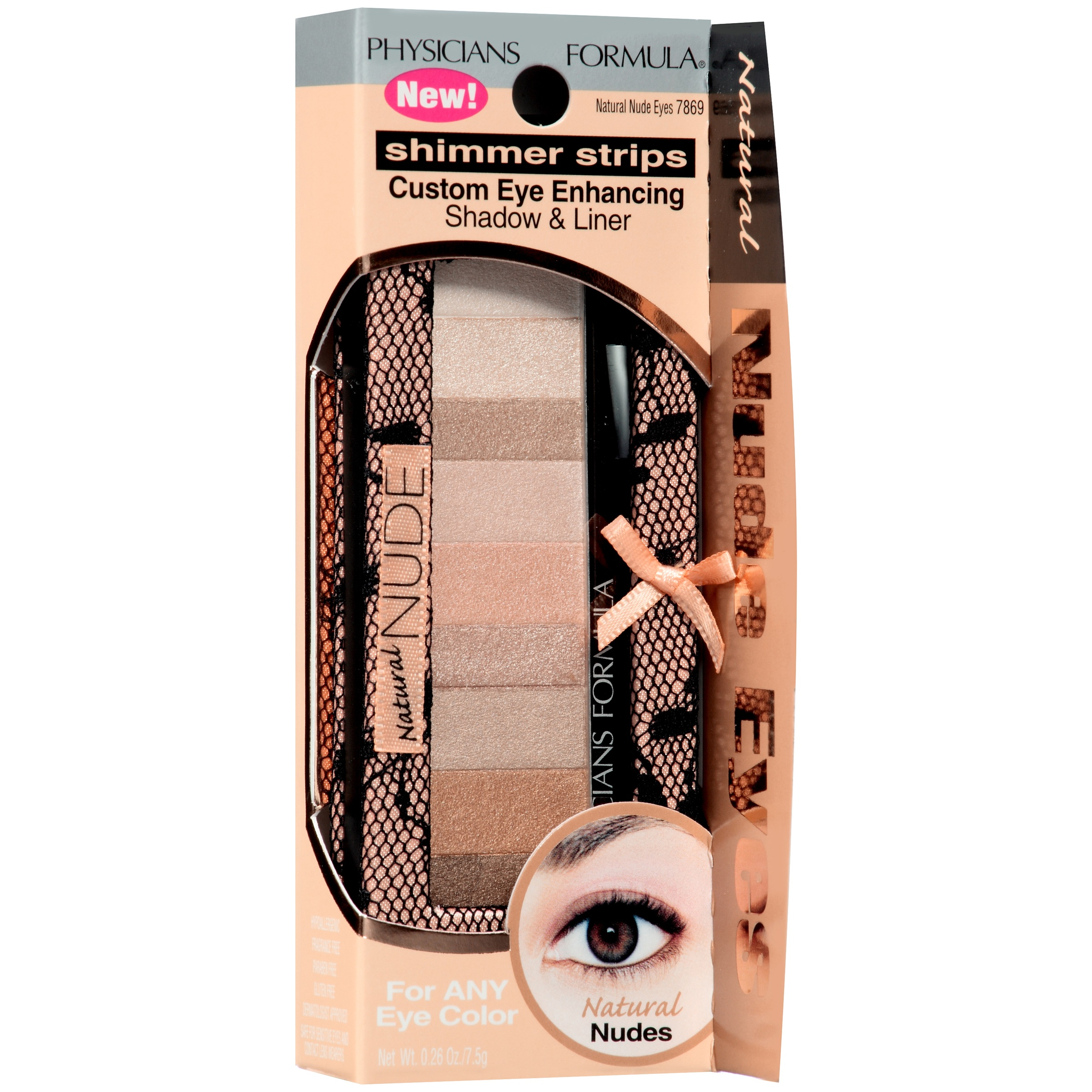 Physicians Formula Shimmer Strips Custom Eye-Enhancing Shadow & Liner, 7869 Natural Nude Eyes, 0.26 oz