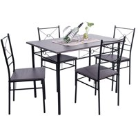 Clearance! 5 Piece Dining Table Set, SEGMART Modern Wooden Kitchen Rectangular Dining Table with 4 Dining Chairs, Wood and Metal Dining Room Breakfast Furniture - Espresso, I9783