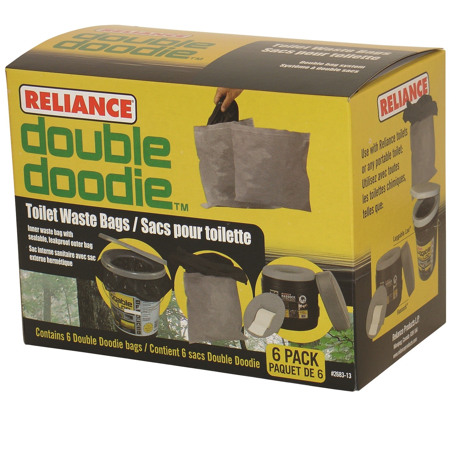 Reliance Double Doodie Toilet Waste Bag 6 Pack 2683-13