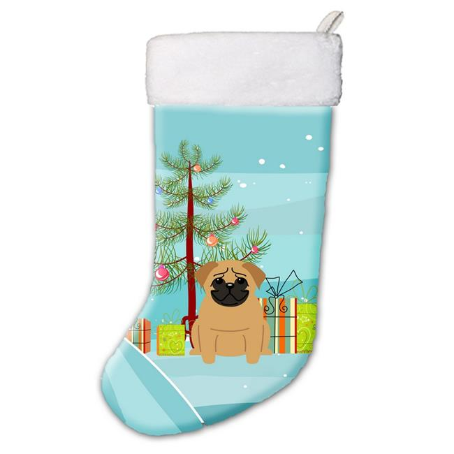 Carolines Treasures BB4132CS Merry Christmas Tree Pug Brown Christmas Stocking - image 1 of 1