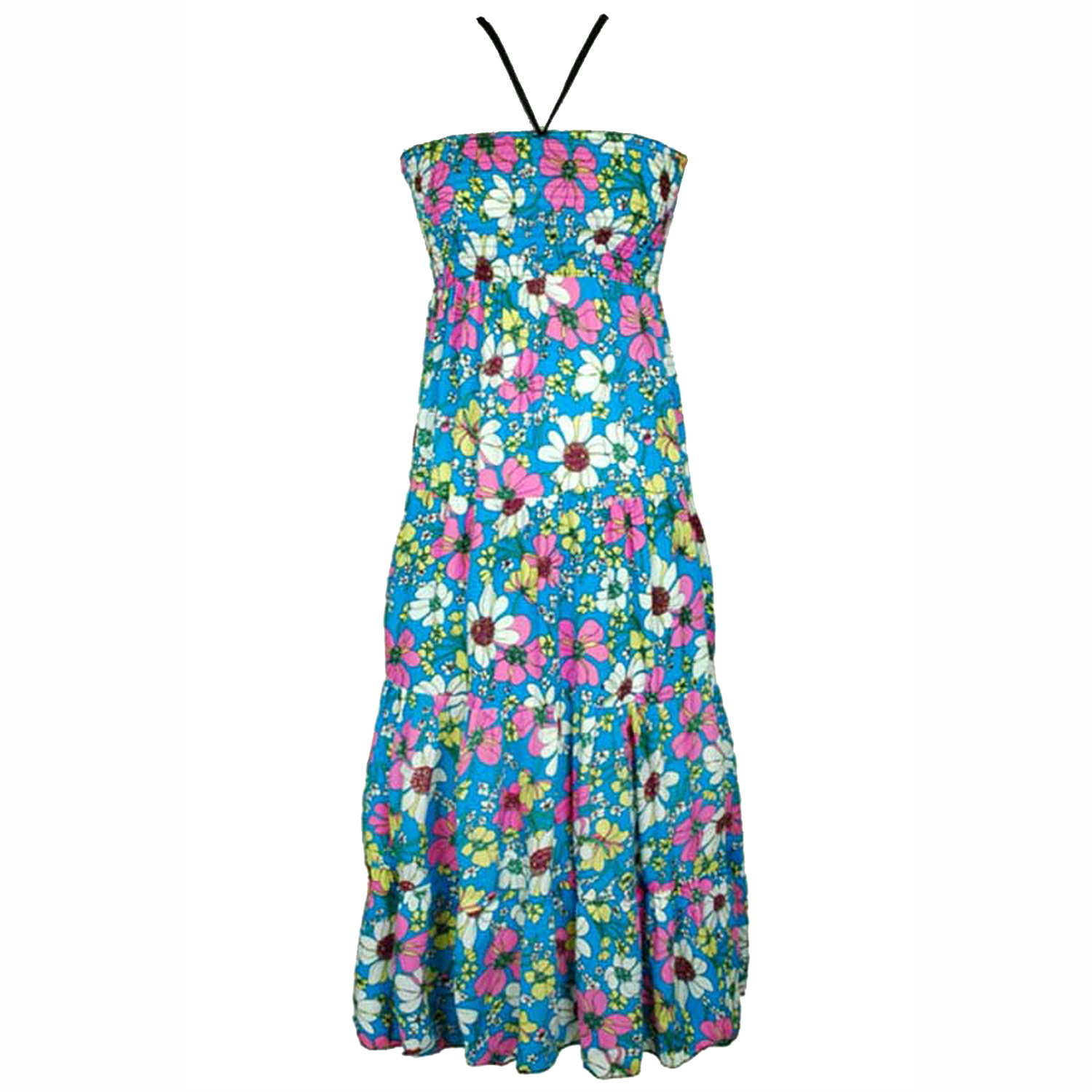 Long Maxi Length Retro Style Halter Sundress