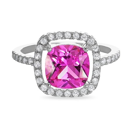 Sterling Silver Created Pink Sapphire Crt White Sapphire Ring Size 5