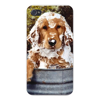 Apple Iphone Custom Case 4 4s Snap on - Cute Puppy Dog Taking Bath Covered in Soap Suds East access to all buttons and ports