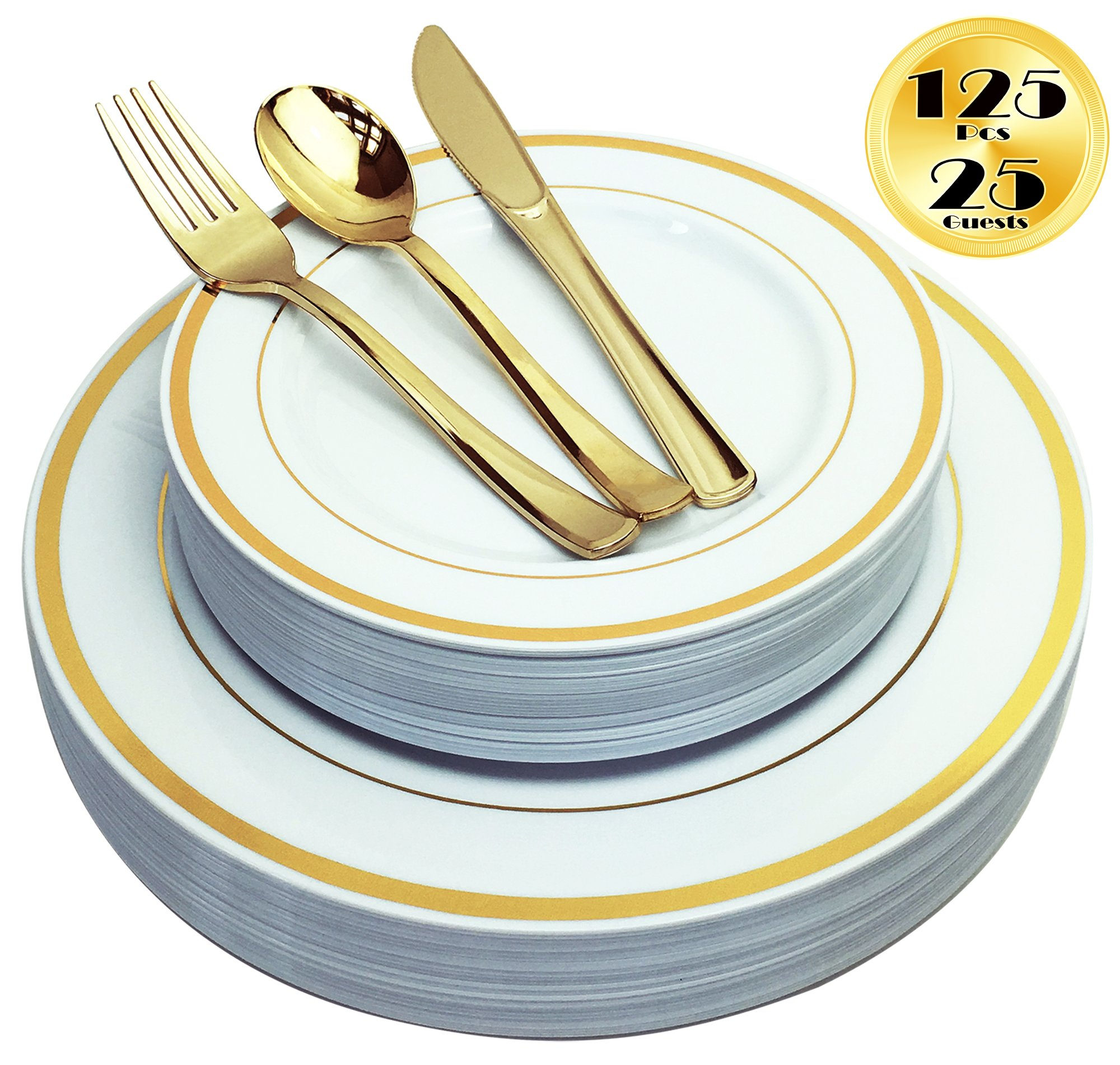 Value Pack 30 Count Premium Quality Heavyweight Plastic Plates China Like Crystal Clear Wedding and Party Dinnerware Plastic Plates 10.25 inch