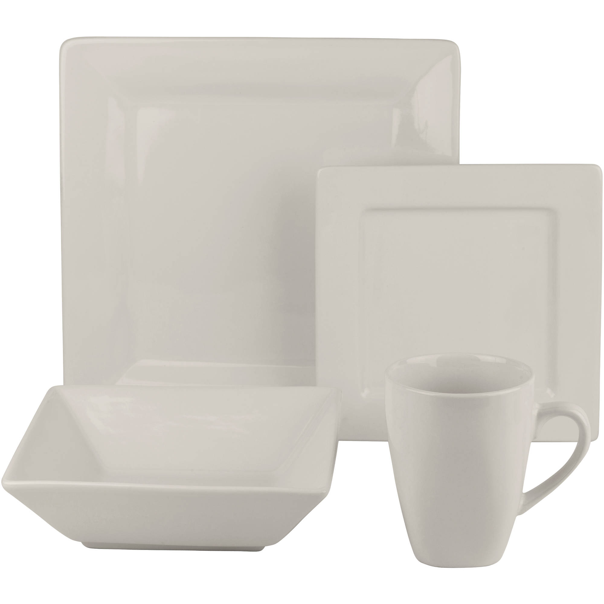 Beau Dinnerware Set 34 Pcs Square White Kitchen Dishes Bowls Plates Dinner  Porcelain