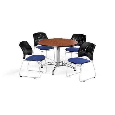 Ofm Pkg Brk 168 0010 Breakroom Package Featuring 42 In  Round Multi Purpose Table With Four Stars Stack Chairs