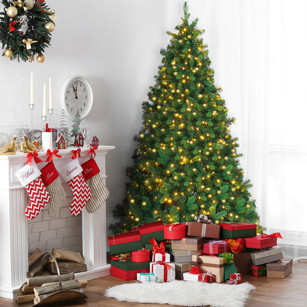Costway 6.5Ft Pre-lit Artificial Christmas Tree PE&PVC Hinged w/ 650 Warm Lights Green