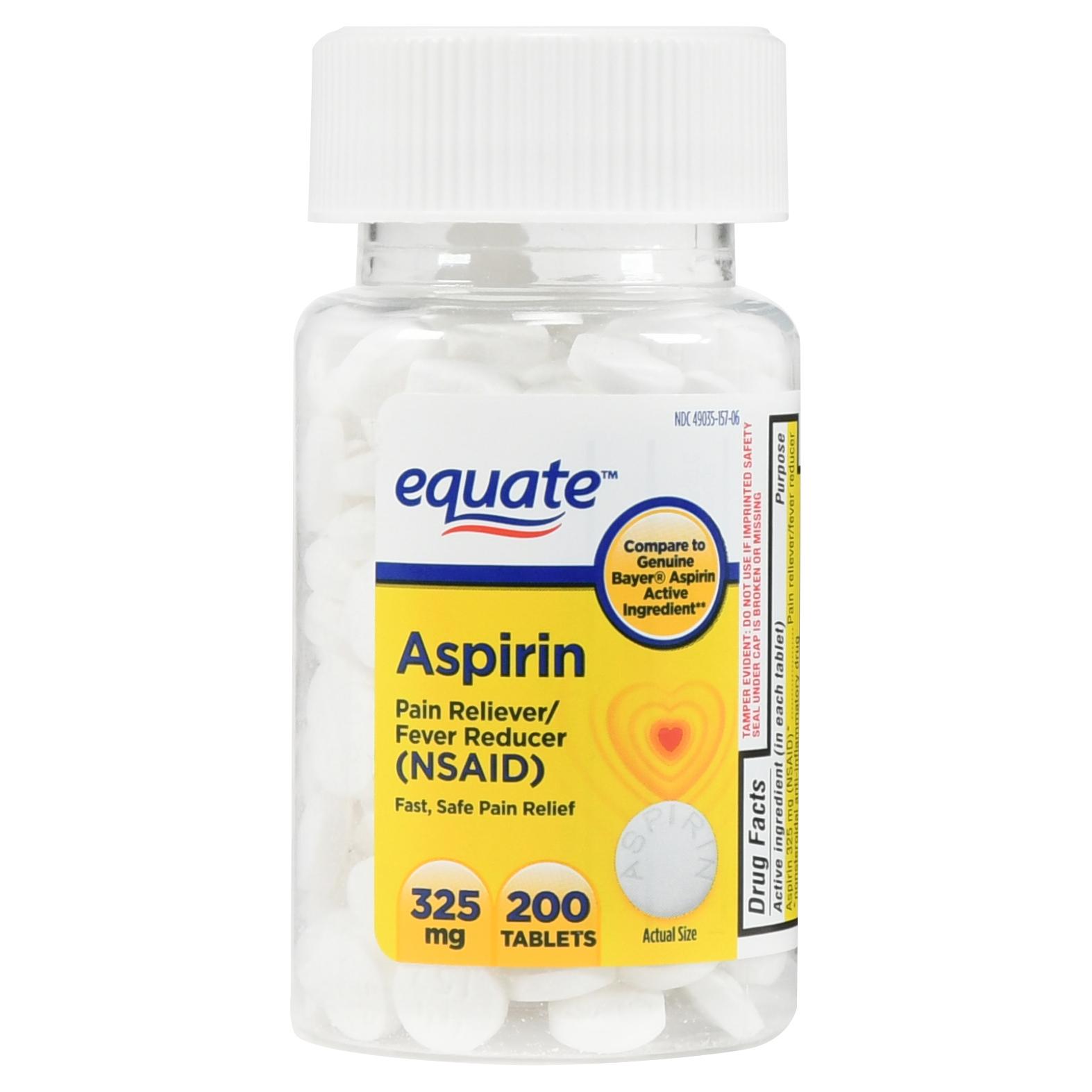 (4 Pack) Equate Aspirin Tablets, 325 mg, 200 Ct