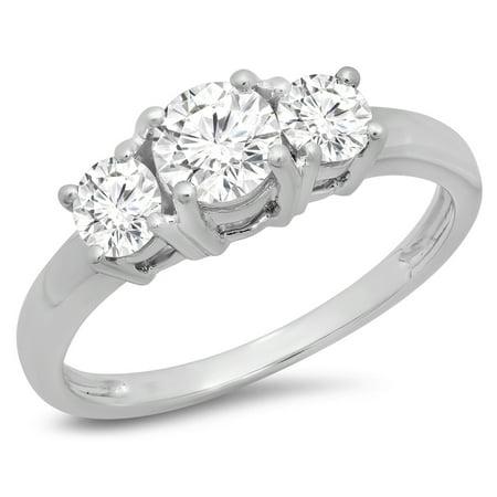 Dazzlingrock Collection 1.00 Carat (ctw) 18k Round Cut Diamond Ladies 3 Stone Bridal Engagement Ring 1 CT, White Gold, Size 5.5