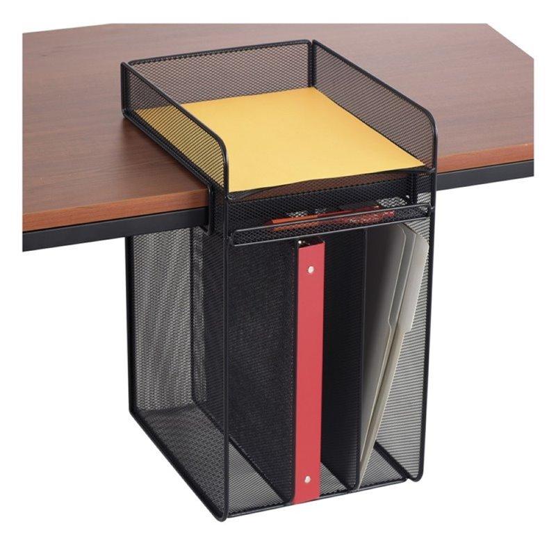 safco onyx vertical hanging desk organizer in black