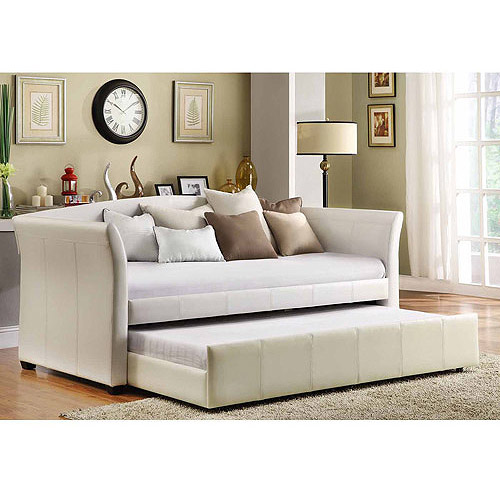 Faux Leather Daybed with Roll-Out Trundle, White