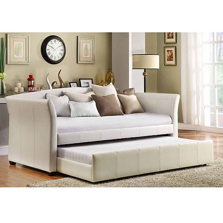 Faux Leather Daybed With Roll Out Trundle White Walmart Com