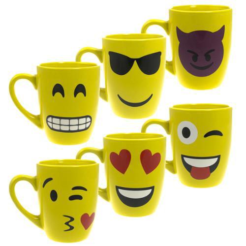 6pk Set Emoji Ceramic Mugs Set Unique Smiley Face Coffee 12oz Cups Novelty Drink Tea Emoticon