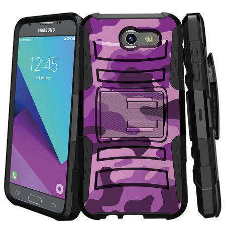 Samsung Galaxy J3 Emerge Case   J3 2017 Case   J3 Pro Case   Clip Armor   Dual Layer Case Rugged Exterior With Built In Kickstand   Holster   Purple Camouflage