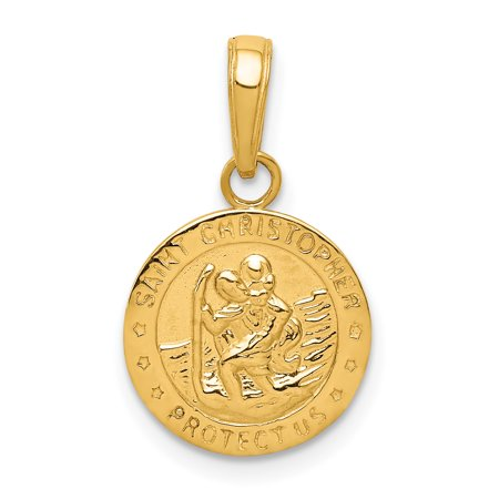 14k Yellow Gold Saint Christopher Medal Pendant Charm Necklace Religious Patron St Gold Medal Necklace