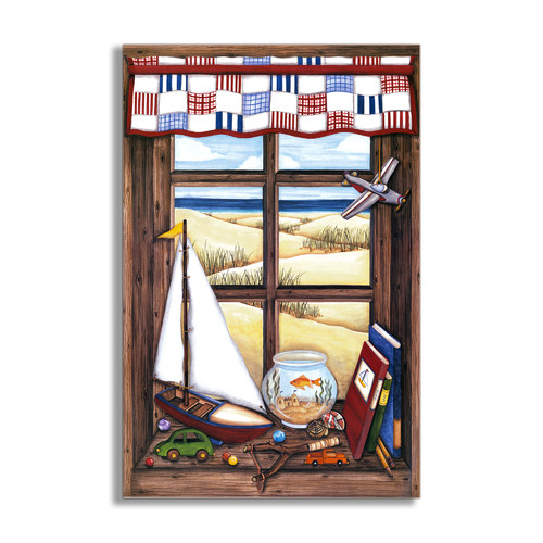 Stupell Industries Little Boys Faux Window Scene Wall Plaque