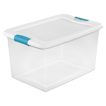 Sterilite, 64 Qt./61 L Latching Box, Teal Splash, Case of 6