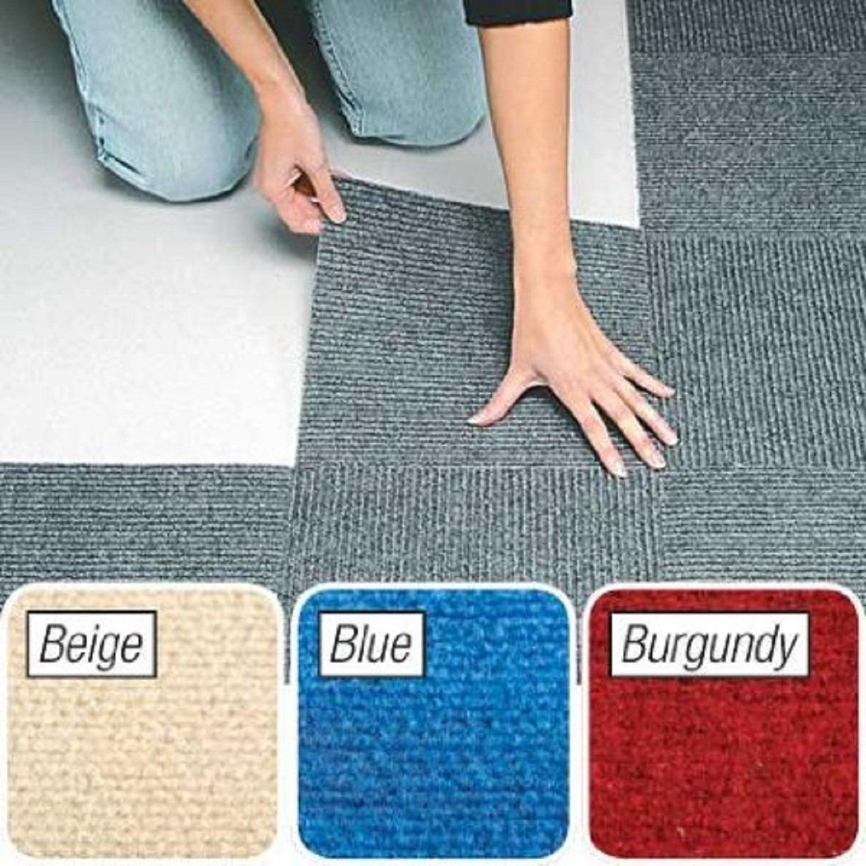 Peel & Stick Berber Carpet Tiles Set of 10 Gray By Jumbl