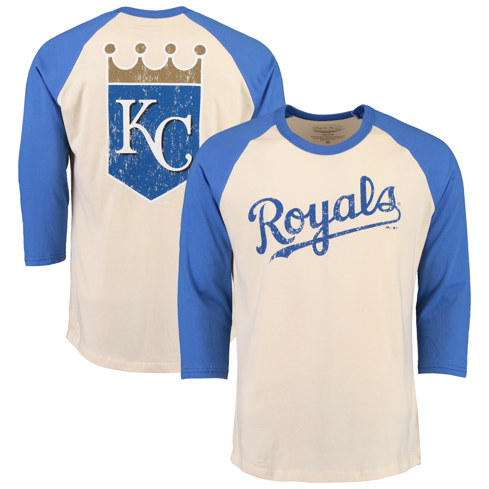 Kansas City Royals Majestic Threads Softhand Vintage Cooperstown Three-Quarter Raglan Sleeve T-Shirt - Cream/Royal
