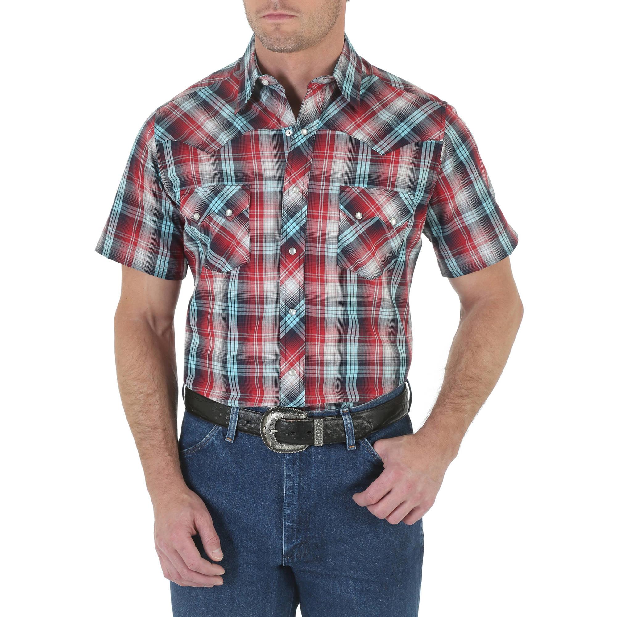 Wrangler Mens Short Sleeve Western Shirt