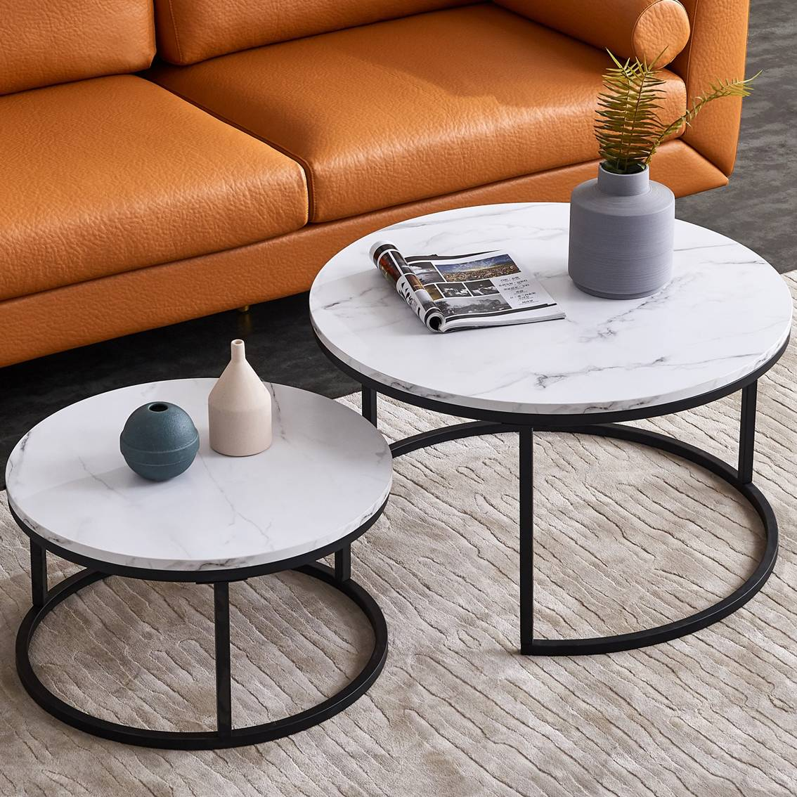 """Black Color Frame with Marble top-32/"""" Modern Nesting Coffee Table Nesting Tables Set of 2"""