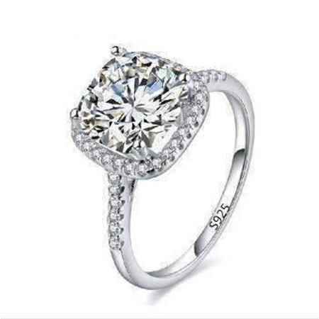 Platinum Cable Ring - ON SALE - Dazzling Halo 2 CT Cushion Cut Simulated Diamond Ring 5 / Platinum