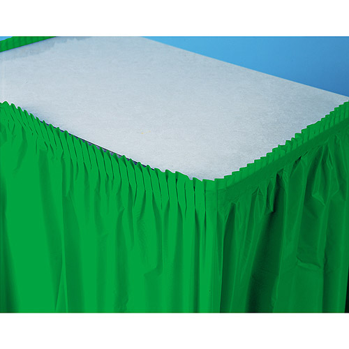 Plastic Table Skirt, Emerald Green