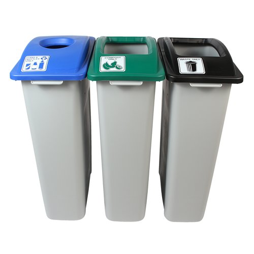 Busch Systems Waste Watcher  Cans and Bottles Compost Circle Triple 69 Gallon 3 Piece Recycling Bin Set