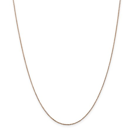 14k Rose Gold 18in .8mm Diamond Cut Cable Chain Necklace 14k Gold 18in Necklace