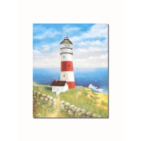Red Lighthouse (Red & White Lighthouse #2 Rock Wall on Cliff over Ocean Wall Picture 8x10 Art)