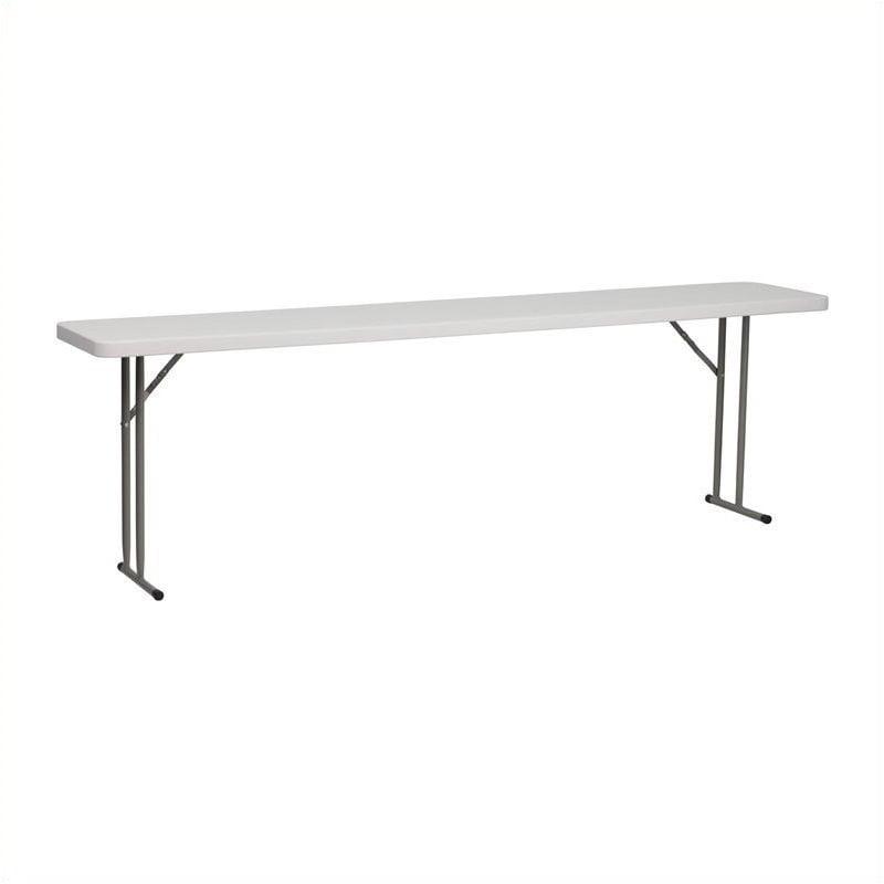 Pemberly Row Granite Plastic Folding Training Table in White