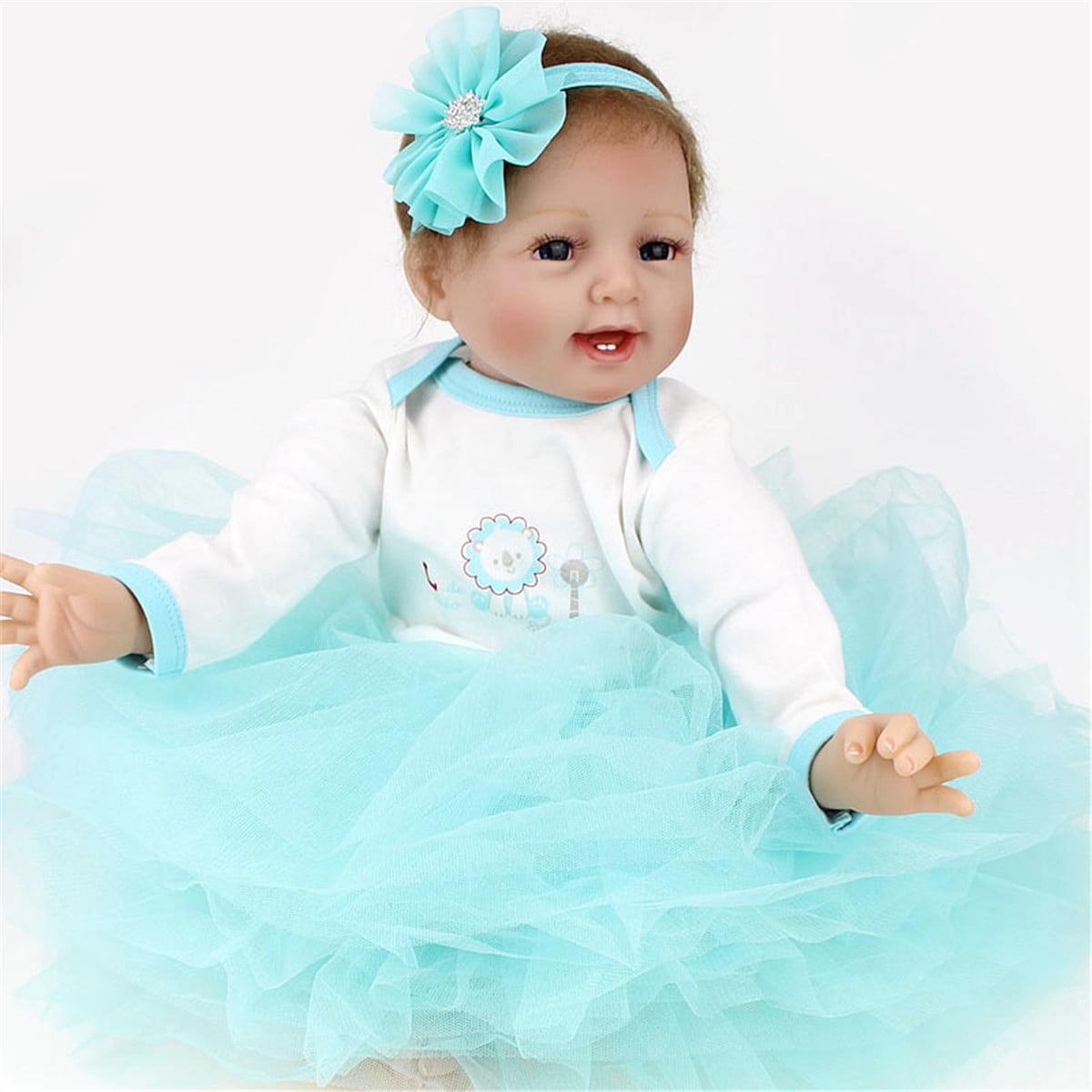 """Dress 22/"""" Handmade Vinyl Silicone Reborn Baby Dolls Lifelike Girl Doll Toddler"""