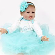 """22"""" Cute Realistic Silicone Vinyl Reborn Baby Doll That Look Real Lifelike Realike Alive Newborn Girl Dolls Handmade Weighted Alive Doll for Toddler Kid Gifts"""