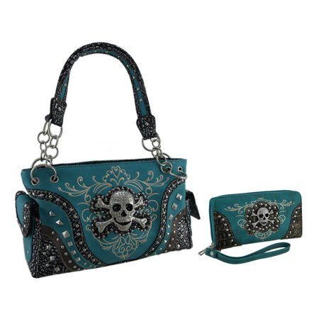 Embroidered Concealed Carry Rhinestone Skull Purse/Wallet Set