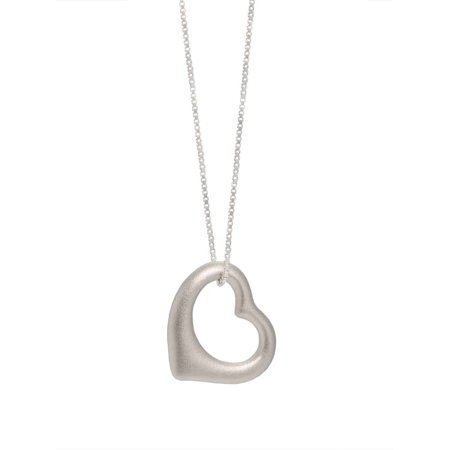 Sterling Silver Floating Heart Pendant Necklace w/ Box Chain 18 Inch Floating Heart Necklace