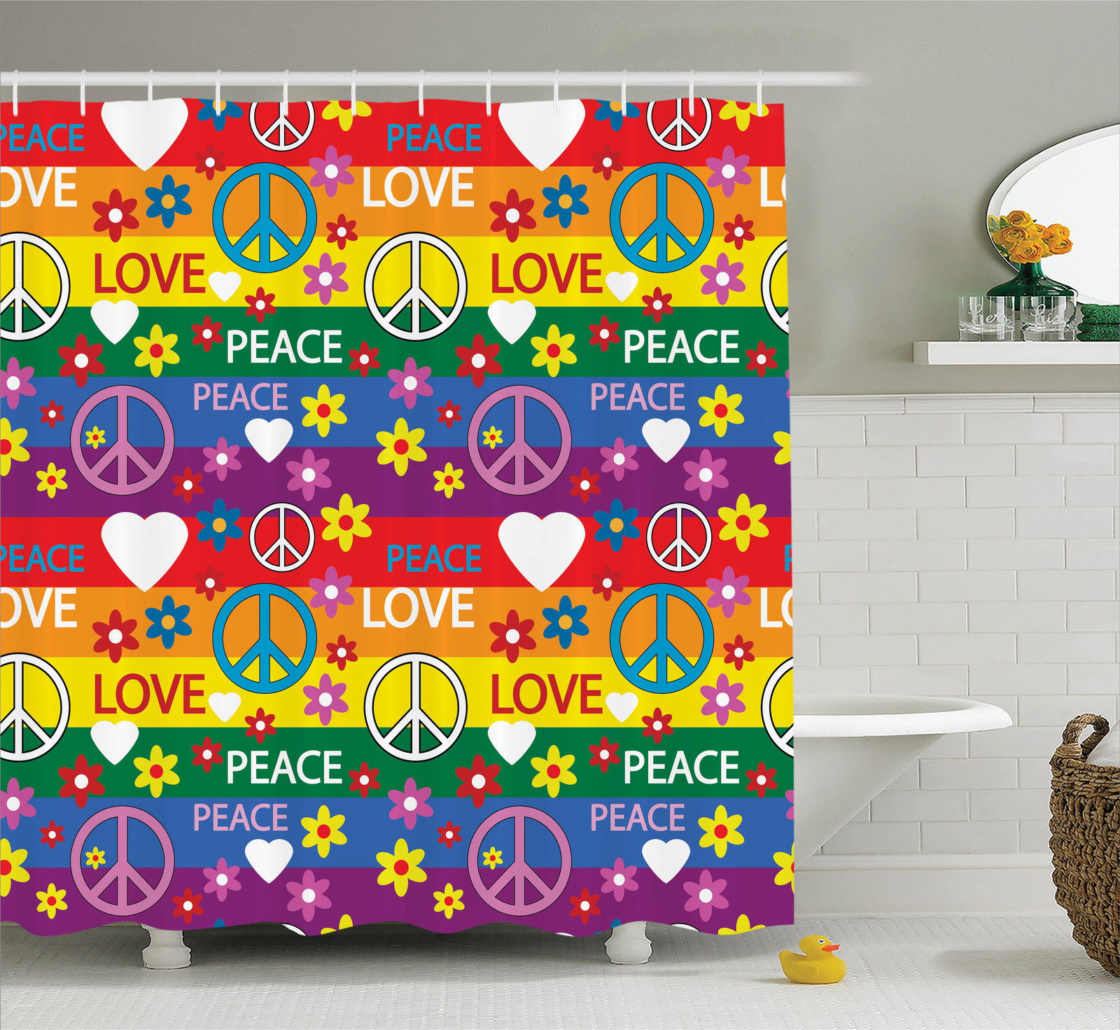 Groovy Decorations Shower Curtain Set Heart Peace Symbol Flower