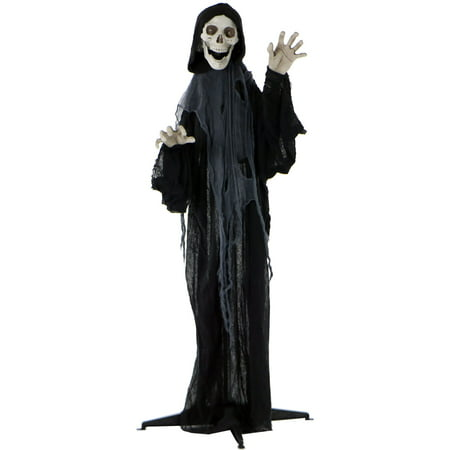 Indoor Halloween Decoration Crafts (Haunted Hill Farm Life-Size Animated Grim Reaper Prop w/ Flashing Eyes and Ribs for Indoor or Outdoor Halloween Decoration,)