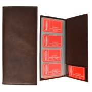 Genuine Leather Business Card Holder Book Organizer 160 Brown Office Executives