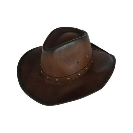 2520a8b8d96 Kenny K - Men s Distressed Western Hat with Brass Studs and Burnished Edges