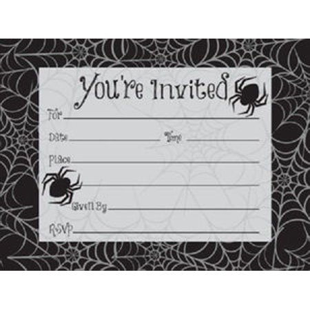 Halloween Party Invitations (Halloween Dancing Skeletons Black Spider Webs Invitations 8 Ct)