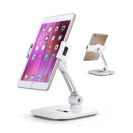 "AboveTEK Stylish Aluminum Tablet Stand, Cell Phone Stand, Folding 360°  Swivel iPad iPhone Desk Mount Holder fits 4-11"" Tablets/Smartphones for"