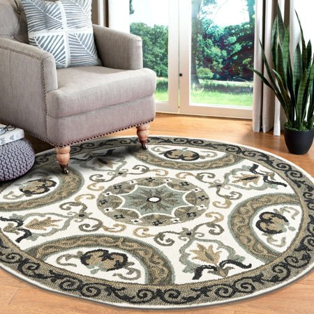LR Home Hand Tufted Medallion Suzani Dazzle Ivory / Gray Wool 6 ft. Round Indoor Area Rug Hand Hooked Ivory Wool