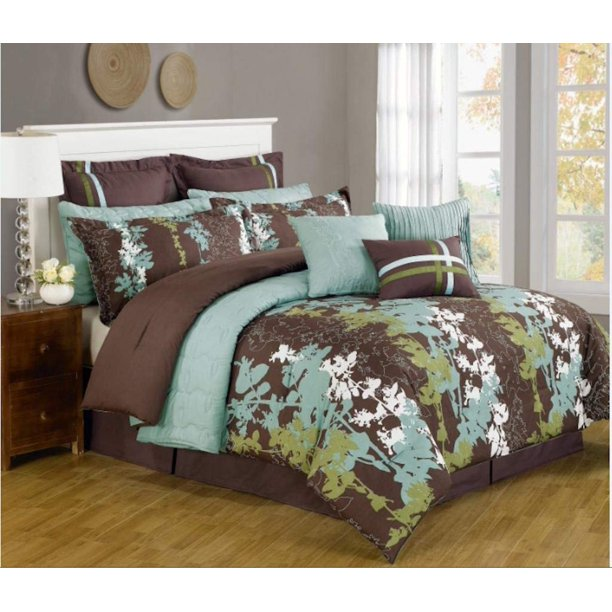 Legacy Decor 12 Pc Teal Green Brown And White Floral Print